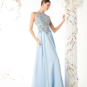 For You Dress sky blue chiffon Evening gown